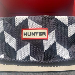 Hunter Gray Black & White Chevron Print Boot Socks